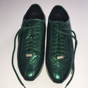 Burberry Emerald Green Python Sneakers